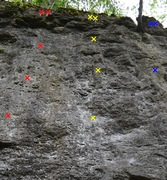 Rock Climbing Photo: Tastes Like Burning (Red), Bangarang (Yellow), and...