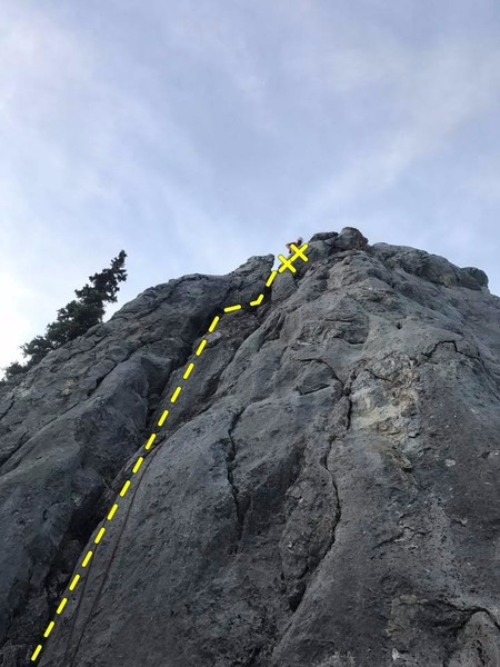 a fun groove, almost offwidth if you stay in the crack.