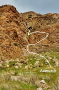 Rock Climbing Photo: Overview of the approach from the base of the gull...