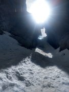 Just below the ice crux.