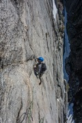 Rock Climbing Photo: RS following P4(?) of Silver Lining. Pic: VM