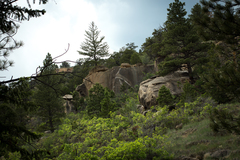 Rock Climbing Photo: view of the Happy boulder from the wash