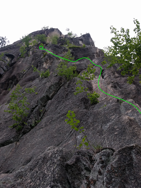 P1 topo for recompense. Anchor ledge marked by pentagon.