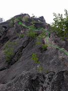 Rock Climbing Photo: P1 topo for recompense. Anchor ledge marked by pen...