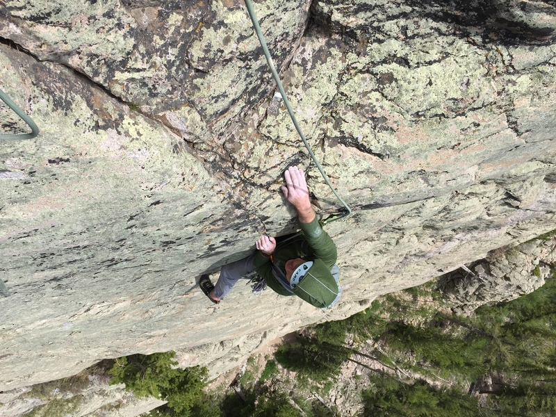 Rock Climbing Photo: Clay ready to pull over the last bulge to the pitc...