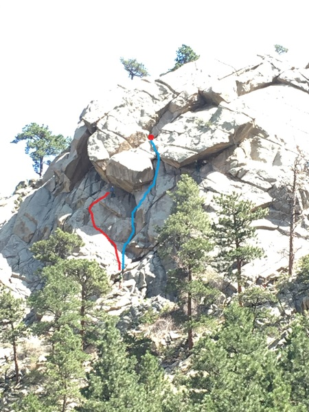 The blue line is the The Owl, and the red line is a party figuring out where the Owl is. On 3 separate occasions I've seen people trying to figure out which way the line goes, mostly going over to Umph Slot then traversing back to The Owl. How hard it is to use a guidebook?