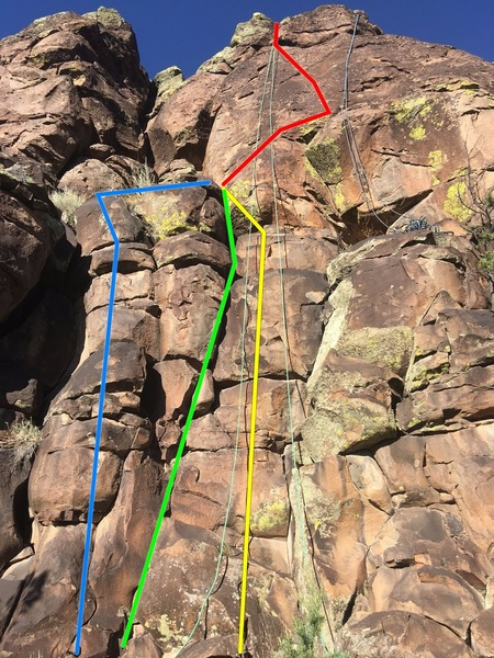 The lower part is 5.7-5.8'ish. There are 3 lines shown up to a ledge where the fun begins.