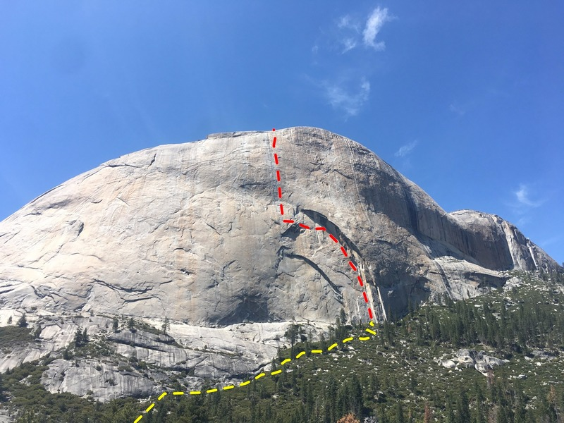 The south face of Half Dome. Growing Up climbs the main arch and continues straight to the top.