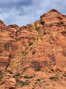 Rock Climbing Photo: Will's Rush (yellow dashes).  Mack's Rush (green d...