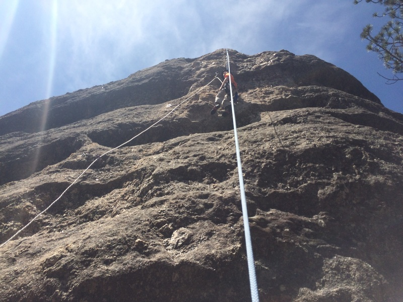 Rock Climbing Photo: Practicing lead while on a top rope belay. This ph...