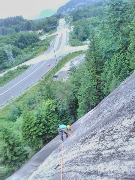 Rock Climbing Photo: Top of pitch 2 or 1 if linking into two pitches