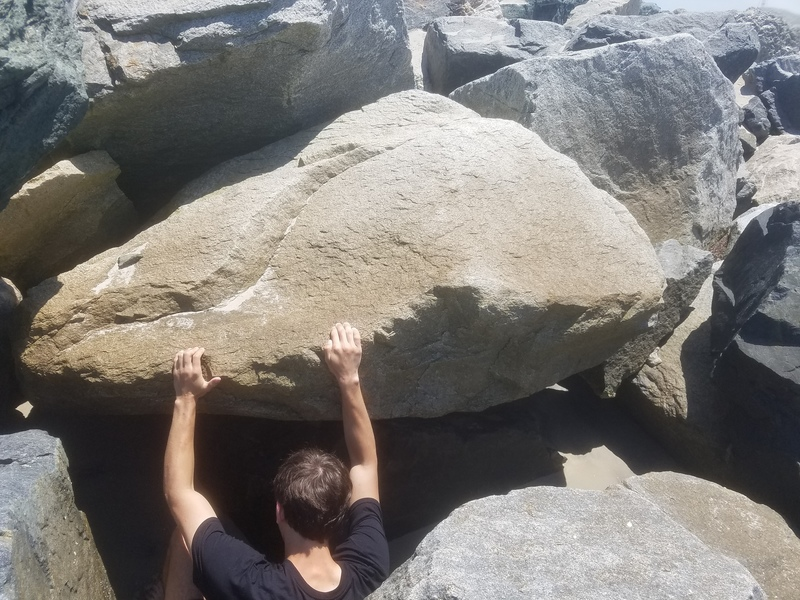 Photo of Henry starting the climb.