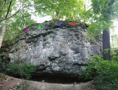 Rock Climbing Photo: Five routes on Amusement Wall. Route on far right ...