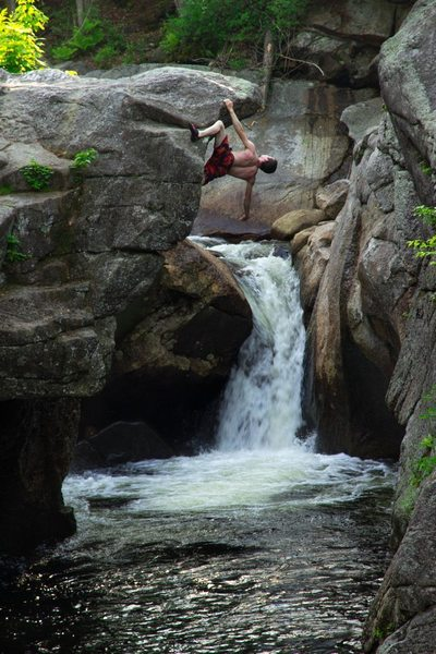 Johnathan climbing on the Indian leap