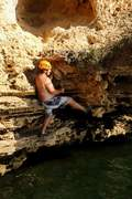 Deep water soloing at black wall reach on the west coast of Australia