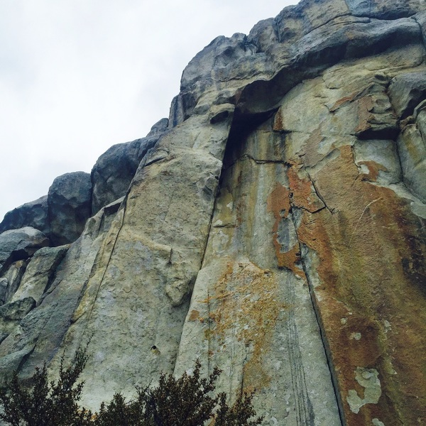 Rock Climbing Photo: This is looking straight up Laceration. Anchor are...