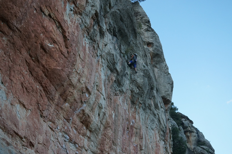 Viv making her way into the grey rock on this climb.