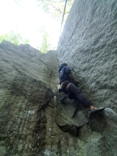 Rock Climbing Photo: Coming up past the undercling