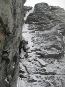 Rock Climbing Photo: Riley leads out of the Box Gully towards a belay b...