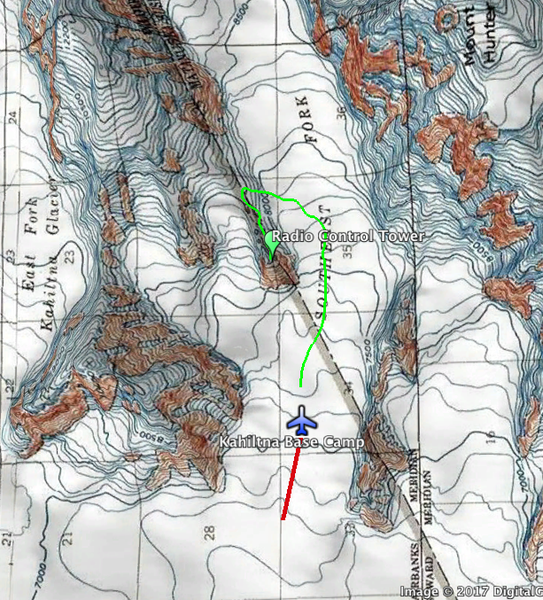 Approximate location of climb