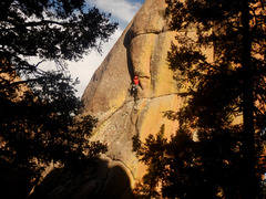 Rock Climbing Photo: Nearing the short, physical offwidth.