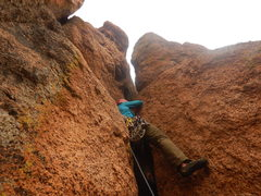 Rock Climbing Photo: Entering the squeeze chimney on pitch 2.
