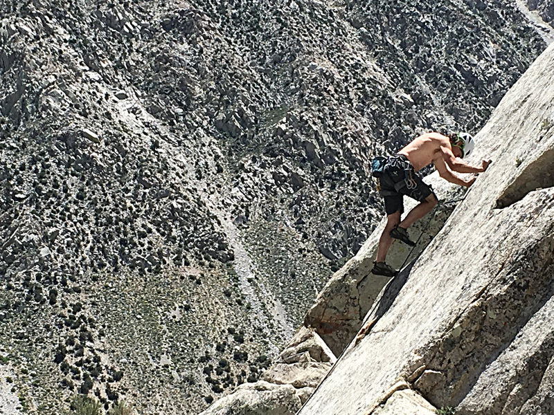 Scott getting in touch with his inner slab.  1st crux on P2 of Rattlesnake Errands.