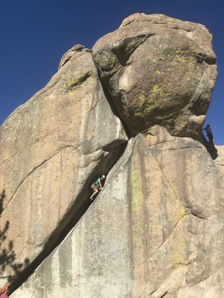 Rock Climbing Photo: Working the wide section. Part on your stomach, pa...