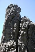 Rock Climbing Photo: Baker scoping for a sequence through the crux
