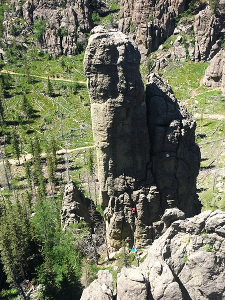 Rock Climbing Photo: Starting up Superstition on Station 13.  Taken fro...