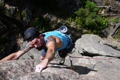 Rock Climbing Photo: Sam digging deep