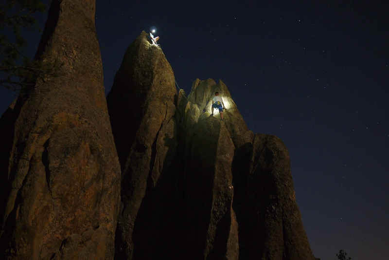 Rock Climbing Photo: Sam and Kevin enjoying a full moon on Solitaire.