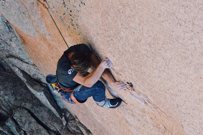 Rock Climbing Photo: Tanner Mack at the bolt just after the lower crux