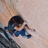 Tanner Mack at the bolt just after the lower crux