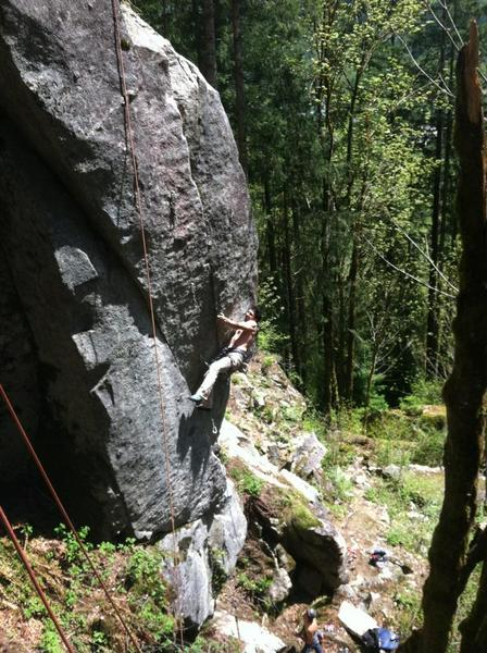 Chandler D giving a solid effort trying for the 2nd ascent