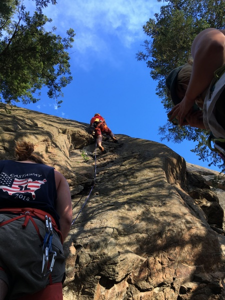 Rock Climbing Photo: Leading through the transition from gear to bolts.