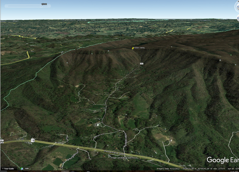Rock Climbing Photo: google earth view of the area, note faint cliff ba...