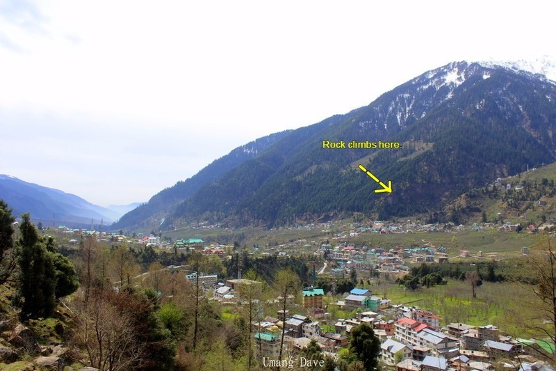 Here you can see the wall from afar. Manali is further up the valley towards where the photo generally aims. You can also see the scattered houses that sit below the rock face.
