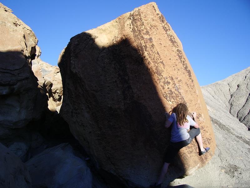 Rock Climbing Photo: Tobin on a fine problem. (2005 Trip)