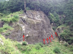 Basic view of the crag as you approach.  <br />Here is a rough estimate of 5 of the 9 total routes.