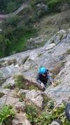 Rock Climbing Photo: Ailsa at the steep move on Bob's Climb
