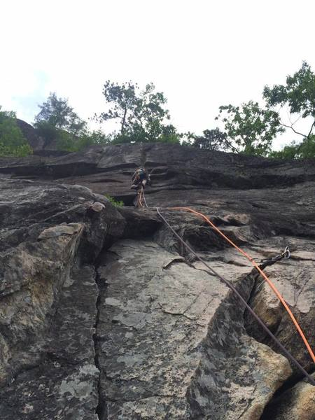 Amy leading the crux pitch.