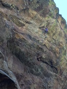Rock Climbing Photo: Starting up the steep bulge that leads to the crux...