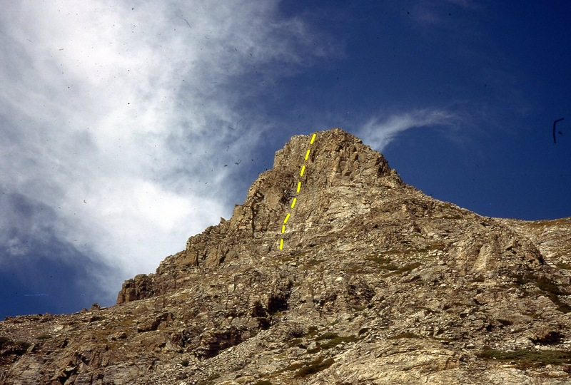 Rock Climbing Photo: Southeast Face of Sawtooth Mountain, 8/13/77. Our ...