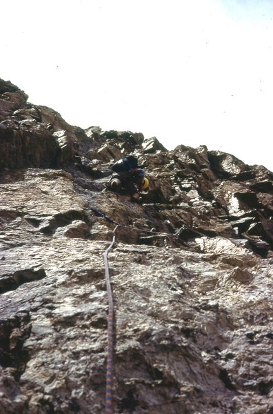 Wearing EBs, GB wanders in search of pro, on the Southeast Face Direct, 1977.