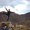 Claire Carren graces the summit, 8/13/77. Audubon and Paiute form the skyline.