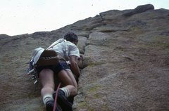 Rock Climbing Photo: George Bracksieck leading, 8/8/78.