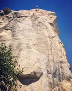 Rock Climbing Photo: Cooper cleaning the anchor after a successful onsi...