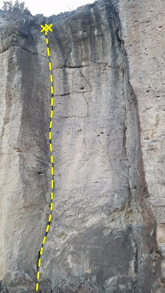 Headwall Crack Left (5.8 Trad/TR) Climb the crack in the right facing Dihedral. Rack up with camalots .75 to 4 and a set of nuts. Finish at two quickclips on chains.