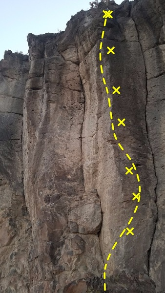 Pauls Boutique (5.11b sport) Follow the bolted arete. Finish on the right side of the arete at two chains and quickclips.